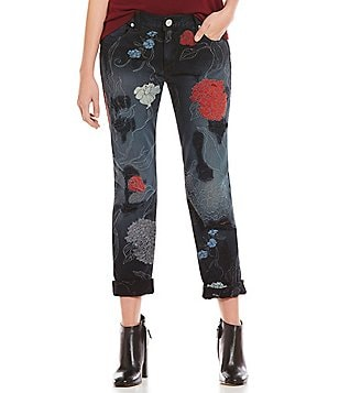 True Religion Audrey Floral Embroidered Slim Boyfriend Jeans