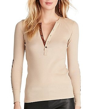 Polo Ralph Lauren Faux-Leather Trim Cotton Long Sleeve Henley Shirt
