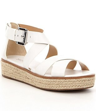 MICHAEL Michael Kors Darby Leather Banded Buckle Espadrille Flatform Sandals