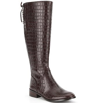 Antonio Melani Eastyn Crocodile Embossed Leather Lace-Up Riding Boots