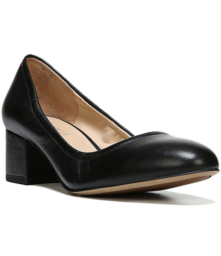 Franco Sarto Fausta Leather Slip-On Block Heel Pumps
