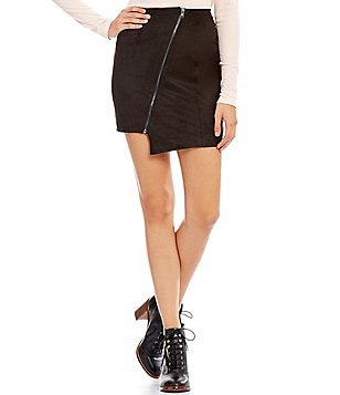 GB Faux Suede Asymmetrical Hem Zipper Front Skirt