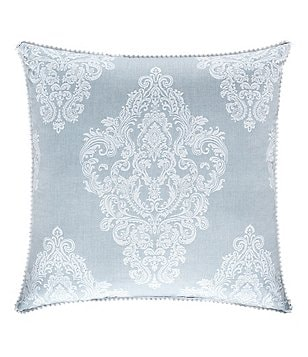 Piper & Wright Ansonia Crochet-Trimmed Damask Square Pillow