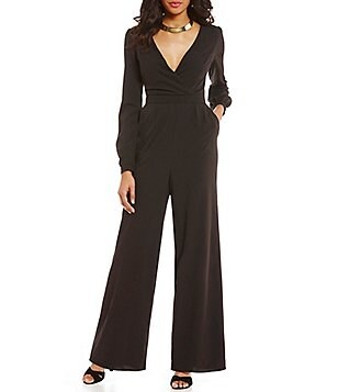 GB Faux Wrap Long-Sleeve Wide Leg Jumpsuit
