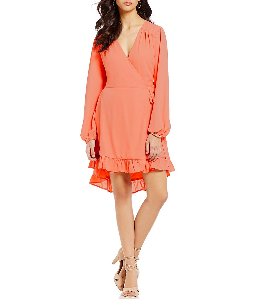 GB Long-Sleeve Tie-Waist Ruffle High-Low Hem Wrap Dress