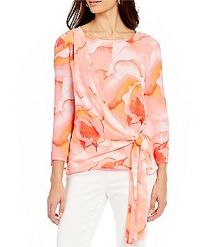 Preston & York Katherine Fantasia Roses Asymmetric Side Tie Printed Blouse
