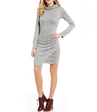 GB Mock Neck Asymmetrical Hem Sweater Dress