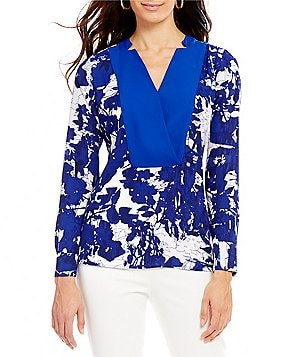 Preston & York Kennedy Printed Georgette Floral Reflections Blouse
