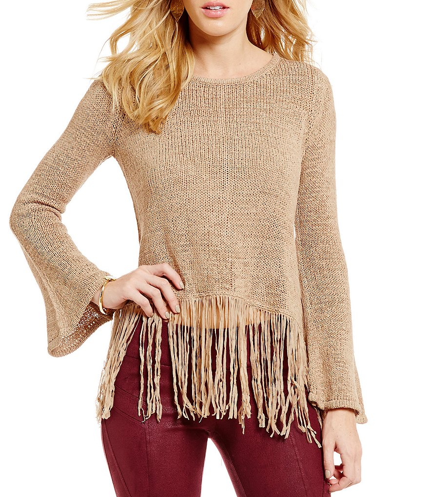 GB Fringe Bell-Sleeve Sweater