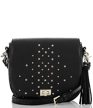 Brahmin Nara Collection Sonny Studded Tasseled Saddle Bag