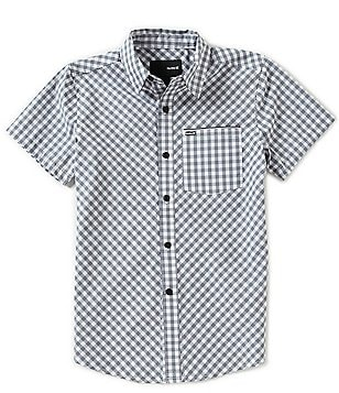 Hurley Big Boys 8-20 Warped Plaid Short-Sleeve Woven Shirt