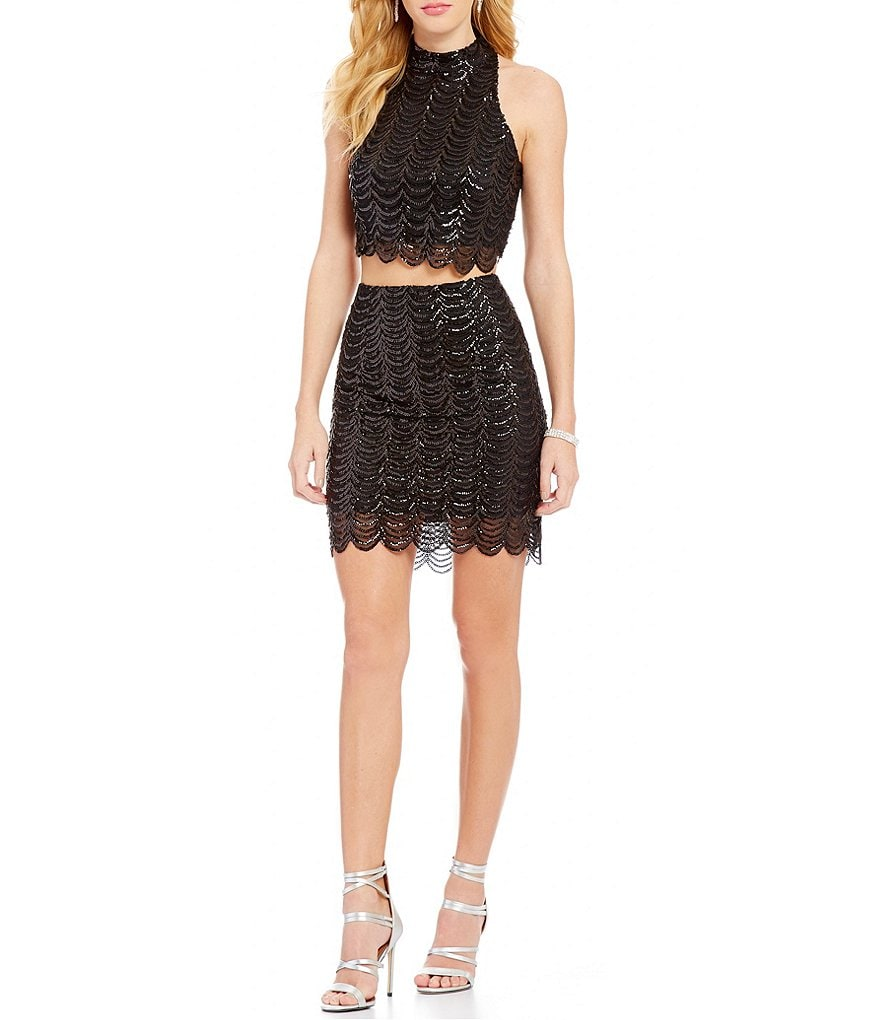GB Scalloped Sequin Mock Neck Two-Piece Dress