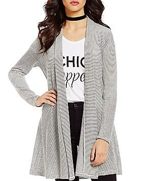 GB Long-Sleeve Striped Open-Front Knit Cardigan
