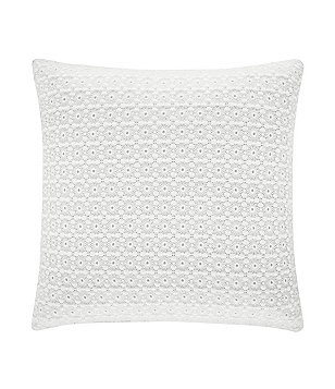 Piper & Wright Ansonia Embroidered Lace-Overlay Square Pillow