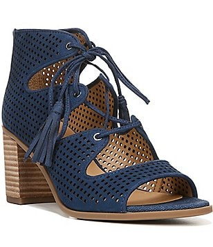 Franco Sarto Honolulu Lace Up & Tassel Block Heel Dress Sandals
