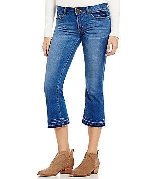 Copper Key Cropped Raw-Hem Flare Jeans