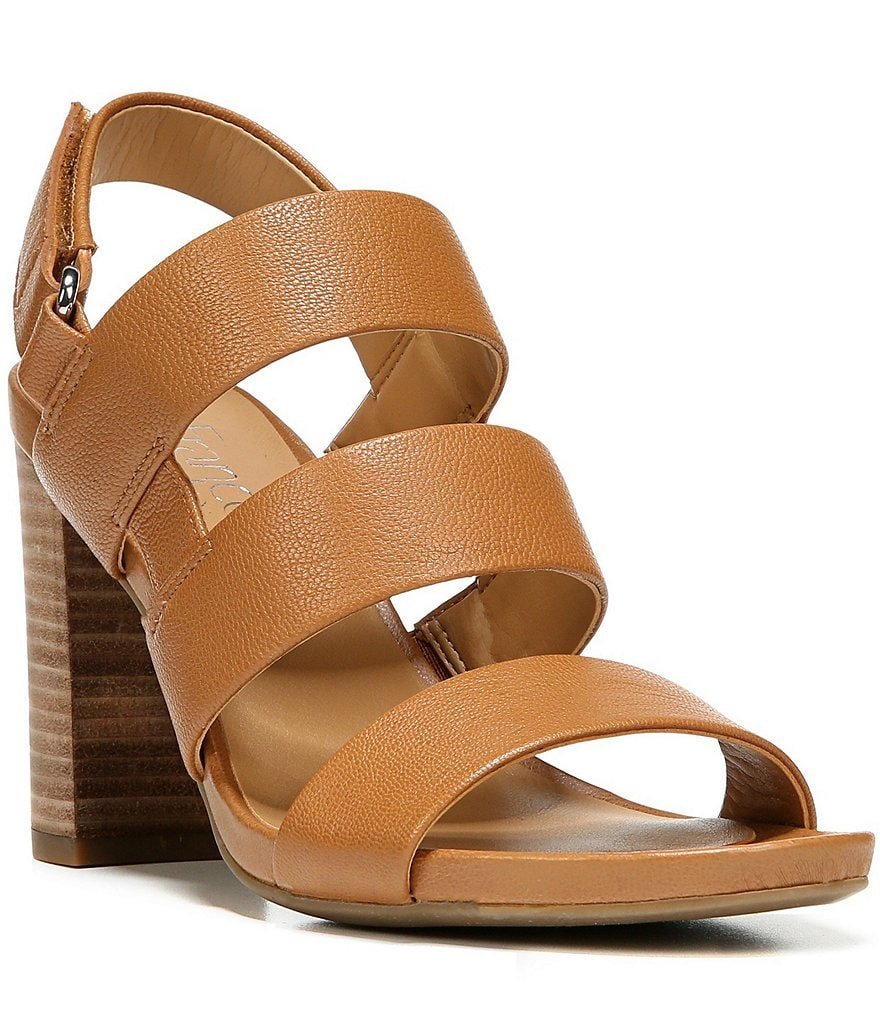 Franco Sarto Jena Leather Banded Hook-and-Loop Block Heel Dress Sandals
