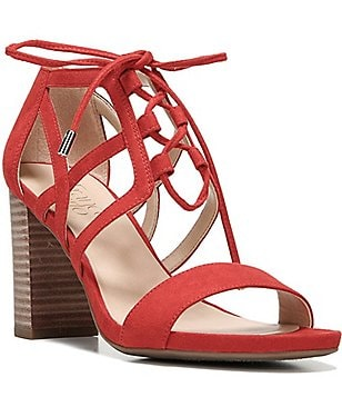 Franco Sarto Jewel Microfiber Banded Lace Up Block Heel Sandals