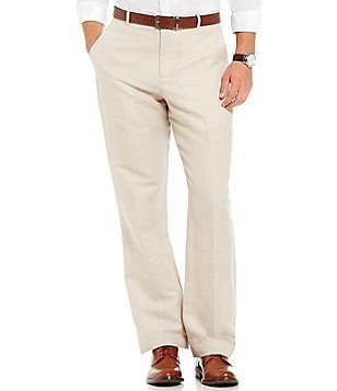Perry Ellis Regular-Fit Flat-Front Linen Herringbone Pants