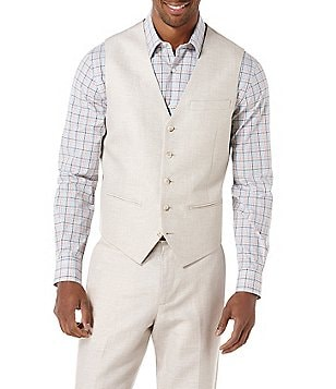Perry Ellis Regular-Fit Linen V-Neck Vest