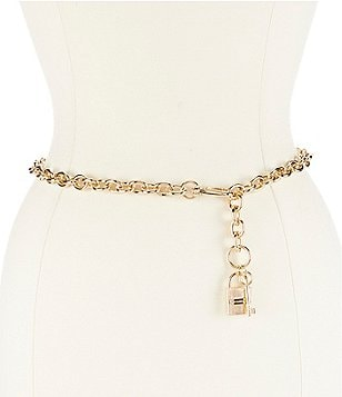 Michael Kors Etched Lock & Key Chain Belt