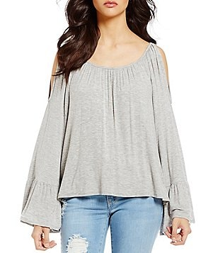 Copper Key Cold Shoulder Ruffle Bell-Sleeve Knit Top