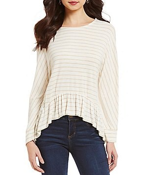 Copper Key Striped Ruffle High-Low Hem Knit Top