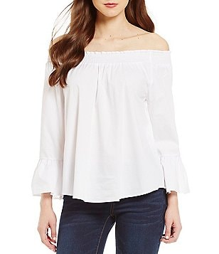 Copper Key Poplin Off-The-Shoulder Ruffle Smocked Neck Blouse
