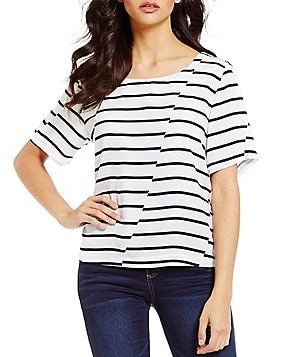 Copper Key Broken Stripe Zip Back Short-Sleeve Tee