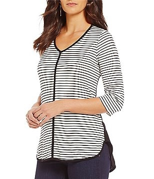 Bobeau 3/4 Sleeve Stripe Front Solid Back Knit Top