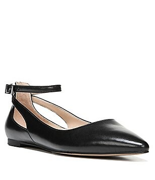 Franco Sarto Sylvia Leather Ankle Strap Pointed-Toe Flats