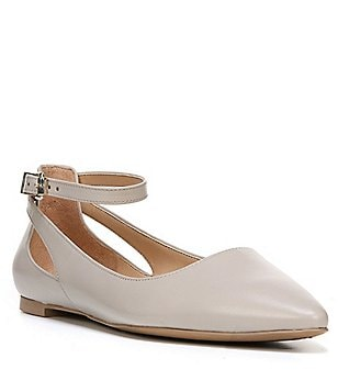 Franco Sarto Sylvia Leather Ankle Strap Pointed Toe Flats