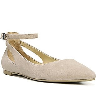 Franco Sarto Sylvia Suede Ankle Strap Pointed Toe Flats