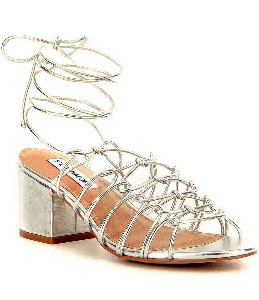 Steve Madden Illie Tie Up Metallic Block Heel Dress Sandals