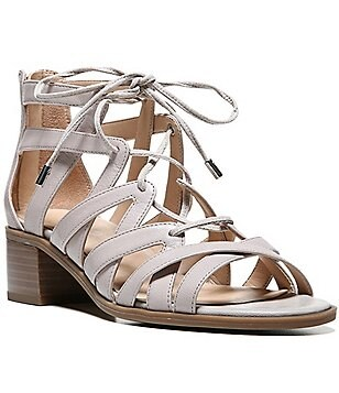 Franco Sarto Ocean Leather Lace-Up Caged Sandals