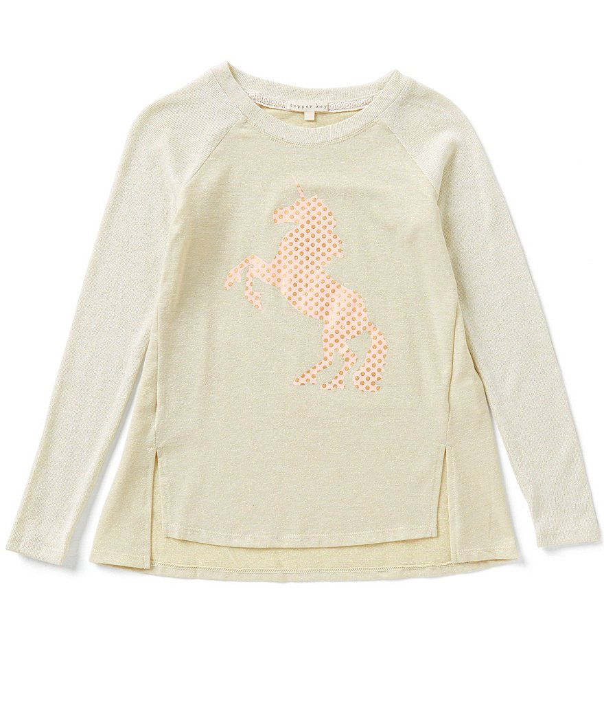 Copper Key Big Girls 7-16 Christmas Foiled Unicorn Raglan Top