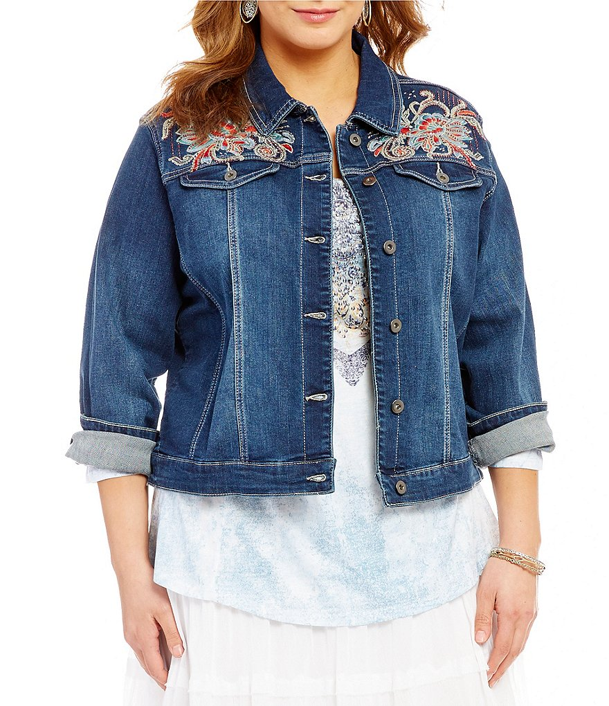 Reba Plus Embroidered Denim Western Spirt Jacket