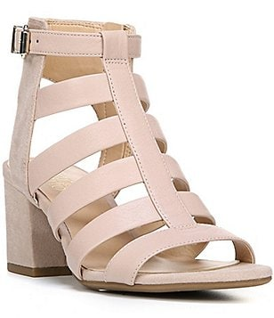 Franco Sarto Mesa Leather & Microfiber Caged Block Heel Dress Sandals