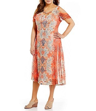 Reba Plus Lace Up Cold Shoulder Printed Dress