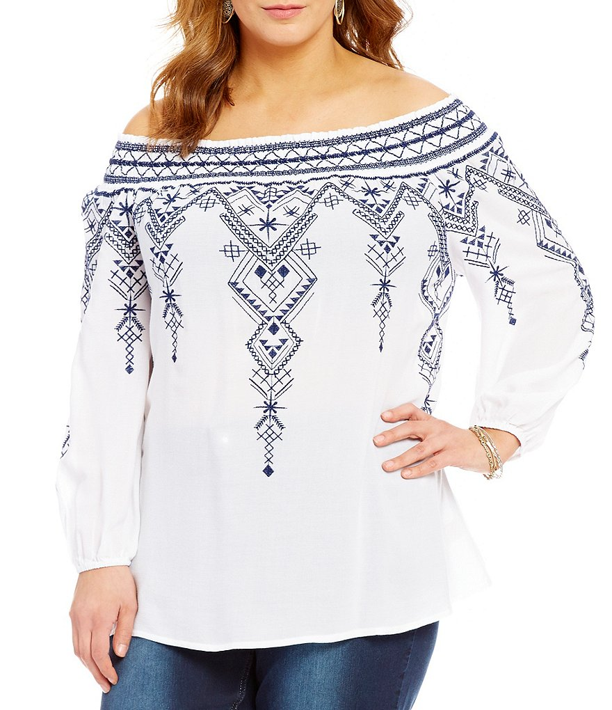 Reba Plus Embroidered Off-the-Shoulder Western Spirit Woven