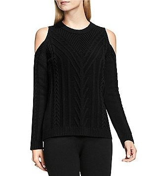 Vince Camuto Long Sleeve Cold-Shoulder Cable Knit Sweater