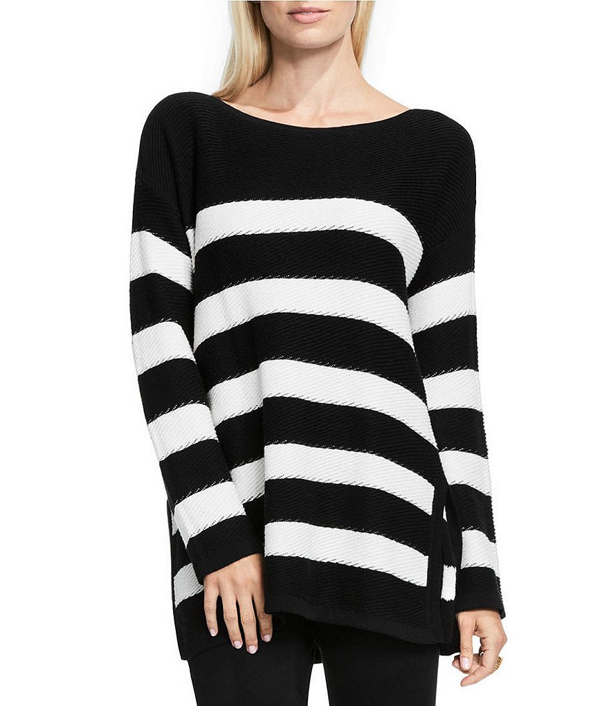 Vince Camuto Crew Neck Long Sleeve Textured Striped Chunky Sweater