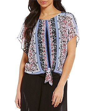 I.N. Studio Tie-Front Multi Ditsy Floral Placement Print Top