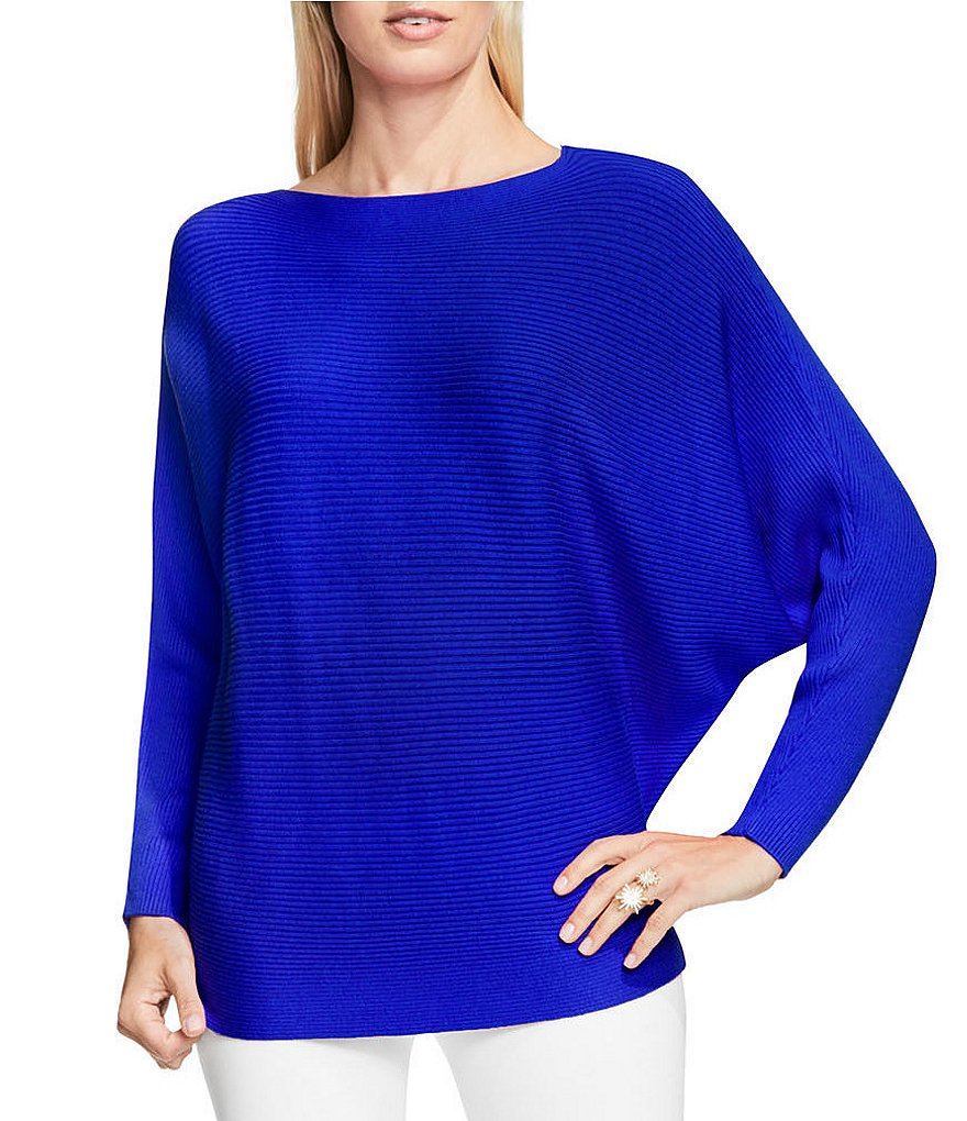 Vince Camuto Long Sleeve Boat Neck Ribbed Knit Dolman Sweater