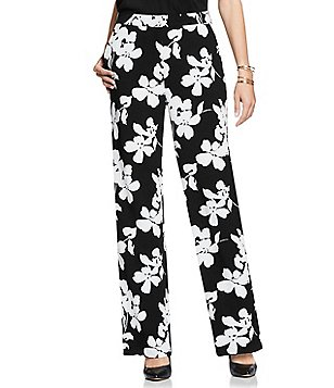 Vince Camuto Fresco Blooms Wide Leg Stretch Crepe Trouser Pants