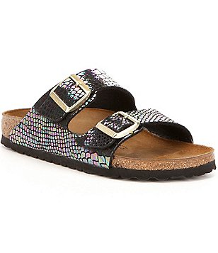 Birkenstock Arizona Metallic Multi-Color Double Banded Buckle Slide Sandals