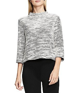 Vince Camuto Elbow Sleeve Mock Neck Metallic Tweed Knit Top