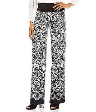 I.N. Studio Elastic Waist Printed Knit Pull-On Pants