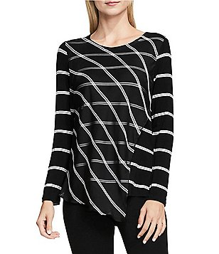 Vince Camuto Long Sleeve Stripe Duet Top with Chiffon Overlay