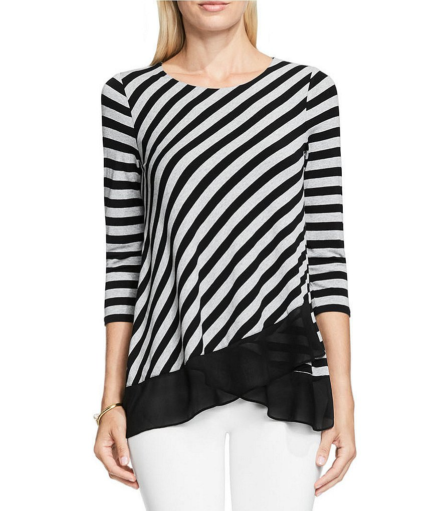 Vince Camuto 3/4 Sleeve with Chiffon Hem Stripe Top